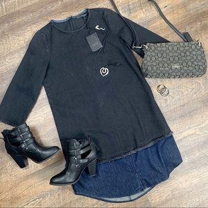 New Zara Trafaluc Black/blue denim Shirt Dress